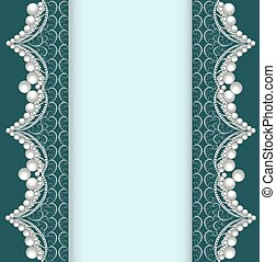 illustration background with lace ornamented with pearls