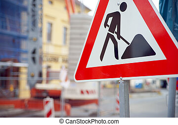 Construction site with sign