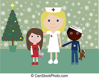 Christmas in hospital - Nurse with 2 injured children with a...