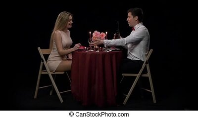 Couple Having Dinner With Wine Glass On Table,Slow motion -...