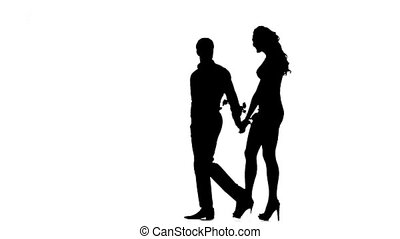 Silhouette of couple in love, Love and sensuality. Slow motion