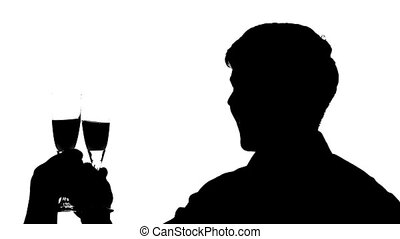 Silhouette of man couple clinking glasses of wine, Slow...