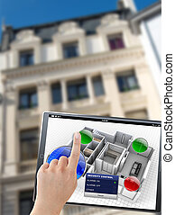 Building automation controls - 3D rendering of a tablet with...