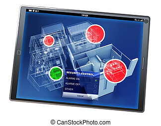 Home security control tablet app - 3D rendering of a tablet...