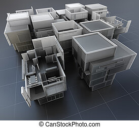 Technical construction - 3D rendering of a group of...