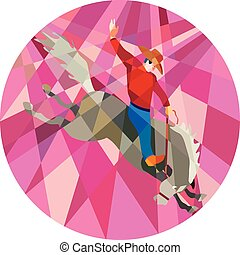 Rodeo Cowboy Riding Bucking Bronco Low Polygon - Low polygon...