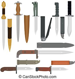Battle edged weapons - Set of combat knives Illustration on...