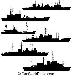 Reconnaissance ship - Contour image scout ships Illustration...