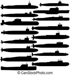 Submarine ballistic missiles - Contour image of submarines...