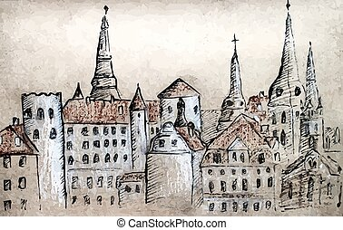 Riga towers - Artistic hand-drawn sketch of towers, Riga,...