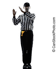 american football referee gestures intentional grounding...