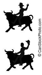 cowboy riding bull
