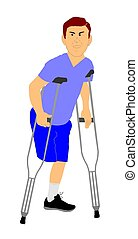 male amputee - amputee on crutches with missing leg
