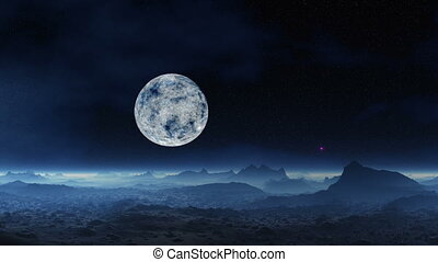 UFO and alien moon landscape - Stone desert Hills and stones...