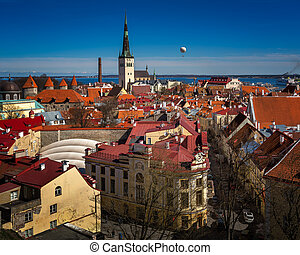 Aerial View of Tallinn Old Town and Olaviste Church from...