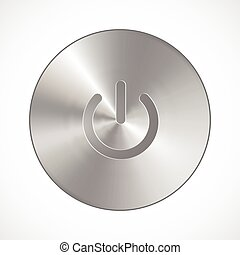Metallic Power Button , isolated on a white background