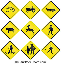 Crossing Signs In Chile - Collection of crossing warning...