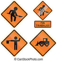 Road Works Signs In Chile - Different Chilean signs about...