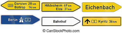 Direction Signs In Germany - Collection of direction signs...
