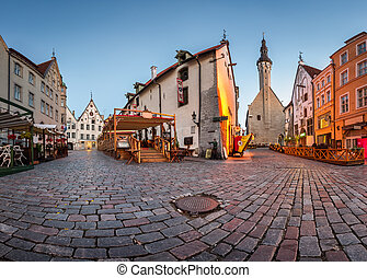 Tallinn Town Hall and Olde Hansa Restaurant in the Morning,...