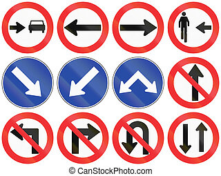 Directions In Chile - Collection of Chilean signs specifying...