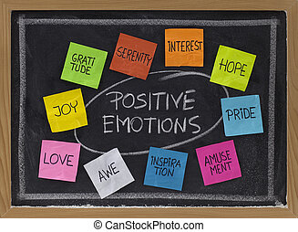 ten positive emotions - concept of positive emotions - color...