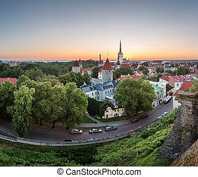 Aerial View of Tallinn Old Town from Toompea Hill at Dawn,...