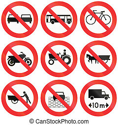 Prohibition Signs In Chile - Collection of prohitory road...