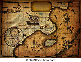Map of Treasure Island with the specified path and blank...