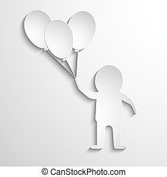 man with balloons in hands. White paper