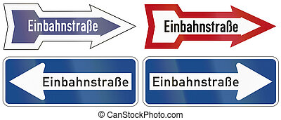 One-Way Signs In Germany - Collection of historic and modern...