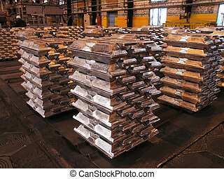 aluminium ingots - storage aluminium ingots in metallurgical...