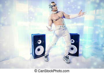 new style - Futuristic muscular man dancing with huge music...