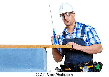 sawing - Male construction worker in working clothes, helmet...