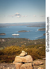 inukshuk - Stone symbol overlooking bar harbor maine
