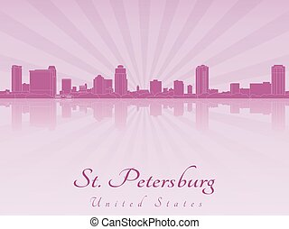 St Petersburg skyline in purple radiant orchid in editable...