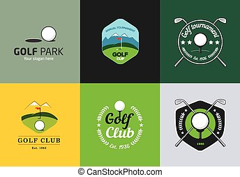 Set of vintage color golf championship logos and badges
