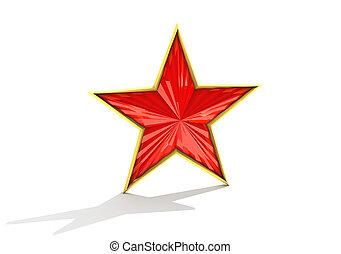 Red star - Red and gold star on white background.