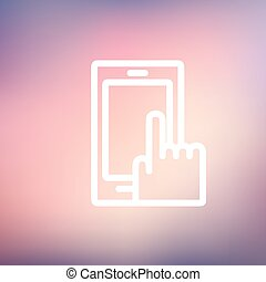 Mobile phone thin line icon - Mobile phone icon thin line...