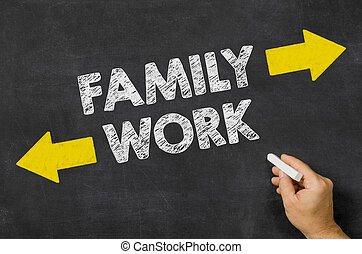 Family or Work written on a blackboard