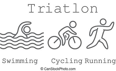 Outlines of figures triathlon athletes. Swimming, cycling and running simbols.