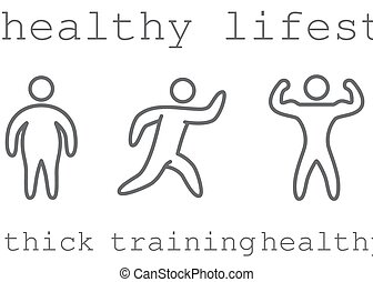Outlines figures of athletes. Symbol of healthy lifestyle. Running for weight loss.
