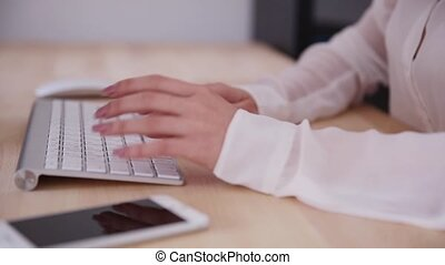 hands typing on the keyboard - Female hands typing on the...