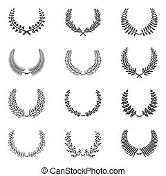 Premium quality laurel wreath collection on white...