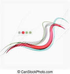 Red and blue wave lines, abstract background, business...