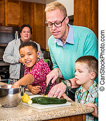 Happy Gay Fathers - Happy gay fathers with their children in...
