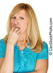 Worried Lady Biting Fingernails