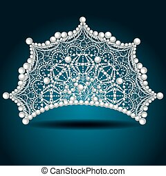 illustration crown tiara with pearl white female