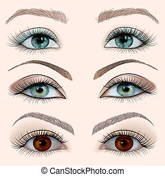 illustration set of a female eye with makeup