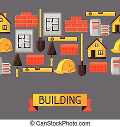 Industrial seamless pattern with housing construction...